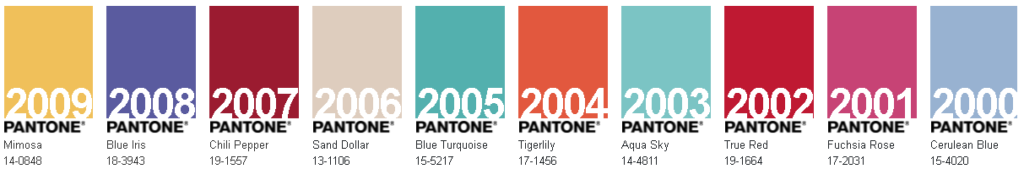pantone past colour of the years 2009-2000